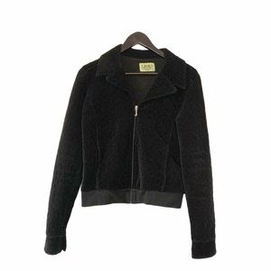 Juicy Couture Black Quilted Velour Zippered Jacket
